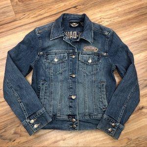 Harley Davidson embroidered jean jacket